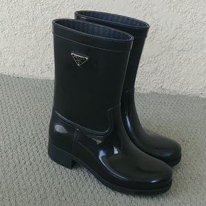 PRADA Black Logo black Wellies rain boots 35
